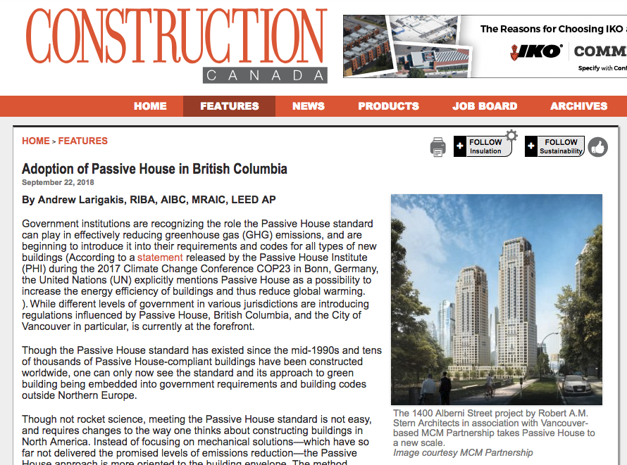 Adoption of Passive House in British Columbia